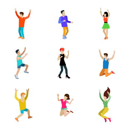 people having fun: Happy man and woman vector icon set. Dancing people flat style illustration. Having fun disco music club collection.