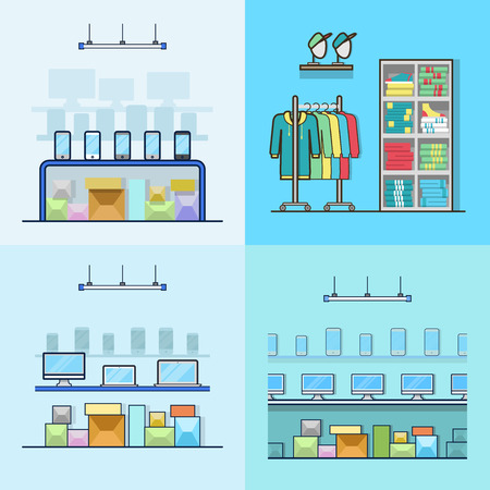 clothing shop: Electronics smartphone laptop computer technology high tech shop boutique clothes clothing store interior indoor set. Linear stroke outline flat style vector icons. Color icon collection.