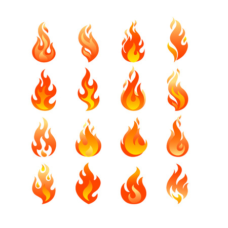 inferno: Red Burning Fire Flame   set design vector template. Burn Fireball concept icon pack. Hot Inferno illustration. Bonfire creative collection. Illustration