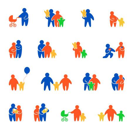 Valeurs familiales simples minimal site web concept gens silhouette application mobile vector icon set. Père mère papa maman garçon fille fils fille nouveau-né enceinte prenatal couple aimant date amant.