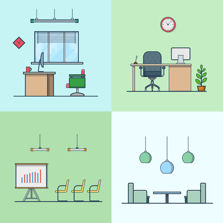 night table: Office meeting conference room table chair armchair night dance club interior indoor set. Linear stroke outline flat style vector icons. Color icon collection.