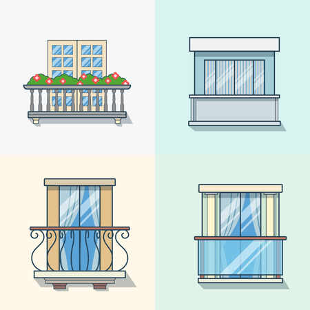on the balcony: Balcony linear outline architecture building element set. Linear stroke outline flat style vector icons. Color icon collection. Illustration
