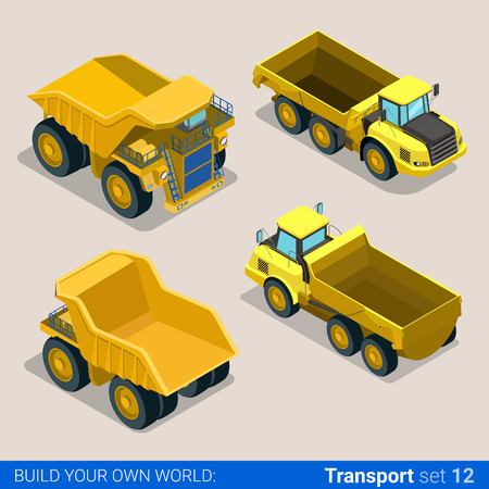 Flat 3d isometric style modern road highway surface making construction site wheeled track vehicles transport web app icon set concept. Tipper tip truck transportation auto.