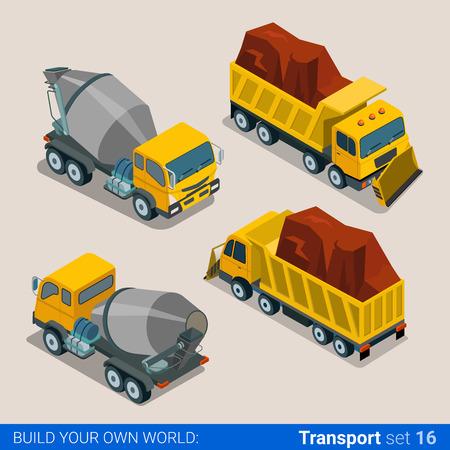 heavy set: Construction transport heavy trucks. Concrete mixer, tip truck tipper lorry dumper. Flat 3d isometry isometric style web site app icon set concept vector illustration.