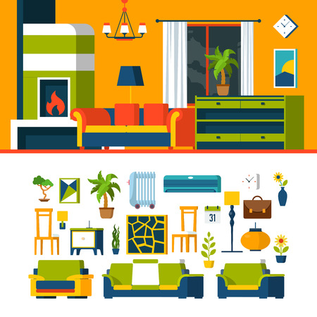 indoor: Living room interior object constructor template vector icon set. Flat style furniture accessory illustration. Coach sofa fireplace armchair chair picture air conditioner. Creative indoor collection.