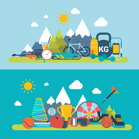 fresh air: Mountain fresh air scene outdoor sports winter summer exercise web site banner hero image set. Flat style modern vector illustration. Sports collection. Illustration