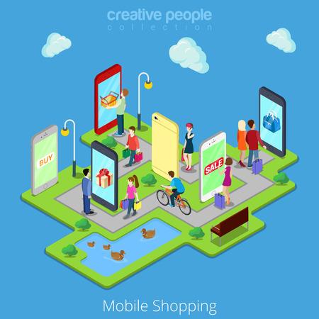 De comercio electrónico móvil de visita electrónicas ventas de las compras en línea móviles plana Web 3d isométricos infografía vector de concepto. La gente camina entre las calles de las tiendas boutiques dentro tabletas teléfonos inteligentes.