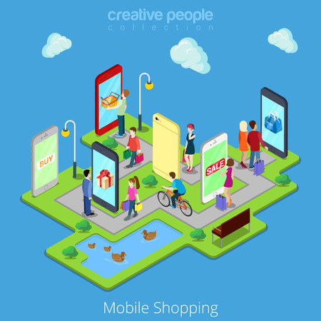 mobili di e-commerce elettronica on-line di telefonia mobile di vendite di acquisto piatto 3d web isometriche concetto infografica vettore. La gente cammina strade tra negozi boutique all'interno compresse smartphone.