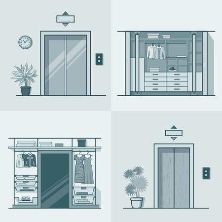 dressing room: Wardrobe dressing room interior indoor elevator entrance door hall lift corridor set. Linear stroke outline flat style vector icons. Monochrome icon collection.