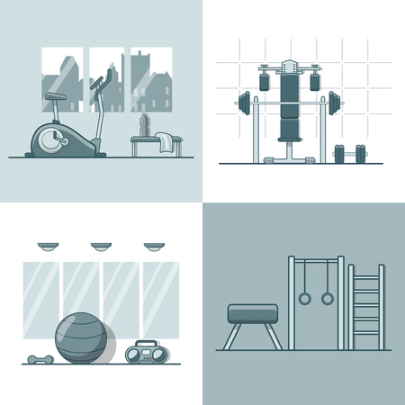 gym room: Gym exercise equipment room interior indoor set. Linear stroke outline flat style vector icons. Monochrome cycle bike power weight lifting gymnastics rings ball wall bars icon collection.
