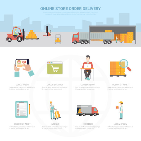 order delivery: Online store order delivery infographics shipping transportation e-commerce business info graphic. Flat style web site app icon set concept vector illustration. Creative trendy collection.