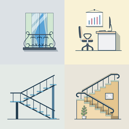 balcony: Balcony office workplace ladder linear outline architecture building element set. Linear stroke outline flat style vector icons. Color icon collection. Illustration
