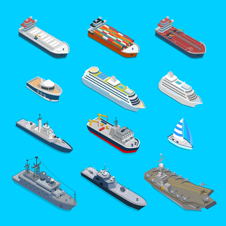 Isometric 12 ship detailed web vector icon set. Flat 3d isometry nautical naval civil military travel transport collection. Tanker cargo cruise ship aircraft carrier cruiser coast guard boat yacht.