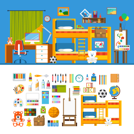 furniture computer: Children room interior object constructor template mockup vector icon set. Flat style furniture accessory illustration. Bed arm chair picture computer lamp picture stand. Creative indoor collection. Illustration