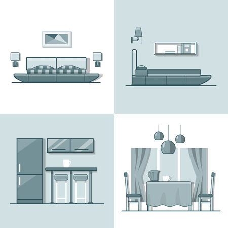 letti: Bedroom kitchen living dining room interior indoor set. Linear monocolor stroke outline flat style vector icons. Color line art icon collection.