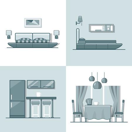 letti: Camera da letto cucina soggiorno sala da pranzo interni al coperto. Icona lineare monocolore contorno icone di stile piatto stile. Collezione di icone di arte a colori.