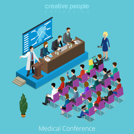 metaphoric: Medical medicine healthcare international worldwide conference concept. Flat 3d isometry isometric style web site app icon set concept vector illustration. Creative people collection. Illustration