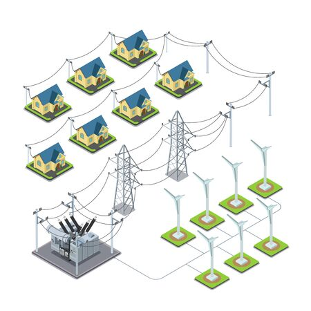 green power: Wind energy propeller green village power supply cycle infographics concept. Flat 3d isometry isometric style web site vector illustration. Ecology eco power lifestyle sustainable world collection Illustration