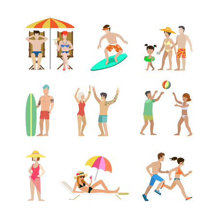 set going: Family vacation set. Man woman children going have fun interesting holidays illustration. Travelling tourism life style collection.
