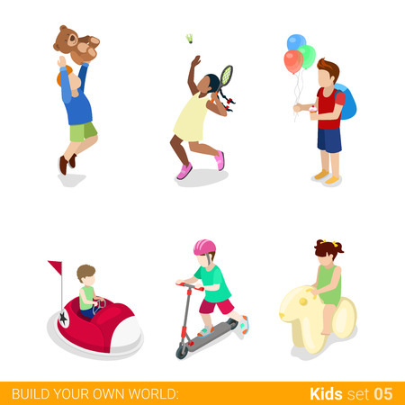 Active recreation amusement park fun sports teenagers children flat 3d isometric web infographic concept vector icon set. Jumping tennis electric car attraction kick board. Creative people collection.