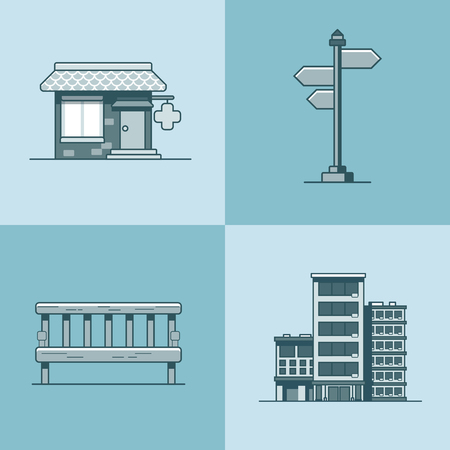 drug store: City object bench signboard architecture pharmacy drug store hotel building set. Linear stroke outline flat style vector icons. Mono color icon collection. Illustration