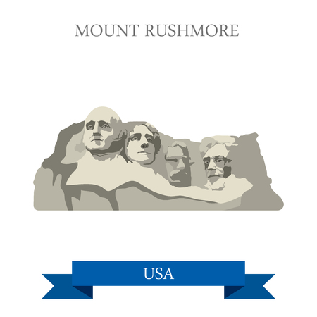 point of interest: Mount Rushmore National Memorial South Dakota United States. Flat cartoon style historic sight showplace attraction web site vector illustration. World travel sightseeing North America USA collection.