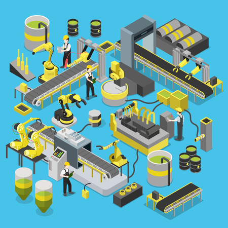 Chemische productie transportband workshop. Flat 3d isometrische zware robot industrie machines icon set begrip web infographics vector illustratie. Manipulator robot gerobotiseerd. Creatieve mensen collectie Stock Illustratie