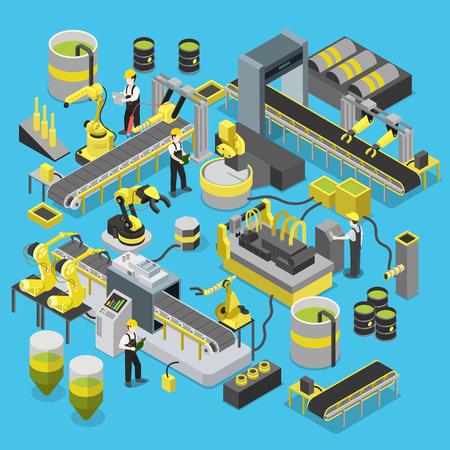 Production chimique atelier de convoyeur. Flat 3d isométrique lourd robotique machines de l'industrie icon set infographies notion web illustration vectorielle. robot manipulateur robotisé. collection de personnes créatives