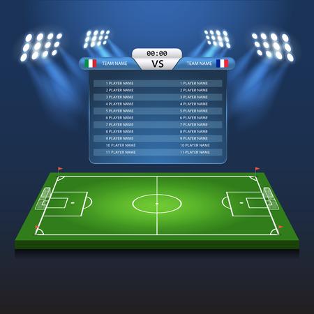 site backgrounds: Soccer football scoreboard matchboard background playground stadium template vector Illustration