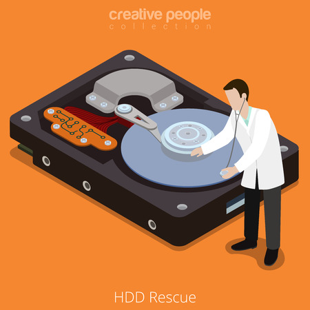 micro drive: HDD Rescue process. Flat 3d isometric isometry style technology computer hardware concept vector illustration. Micro cartoon doctor on big hard disk drive open cover. Creative people collection.