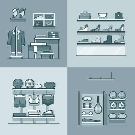 white clothes: Boutique clothes clothing accessory shoes sports inventory tool shop store interior indoor set. Linear stroke outline flat style vector icons. Monochrome icon black and white collection.
