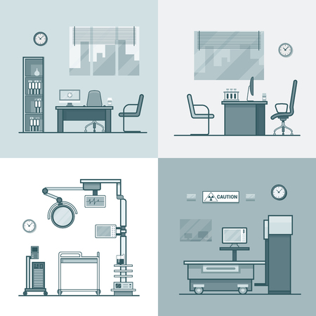 dispensary: Hospital clinic medical medicine dispensary lab operation room x-ray roentgen doctor cabinet interior indoor set. Linear stroke outline flat style vector icons. Monochrome icon black and white collection.