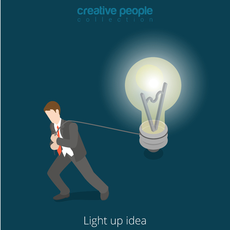metaphoric: Light up drive drudge your idea concept. Flat 3d isometric isometry style web vector illustration. Businessman pull strap with lamp light bulb.