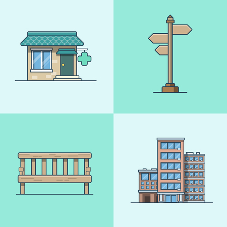 building color: City object bench signboard architecture pharmacy drug store hotel building set. Linear stroke outline flat style vector icons. Multi color icon collection.