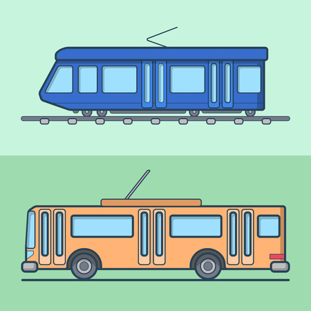 trolleybus: Tram trolleybus trolley bus public transport set. Linear stroke outline flat style vector icons. Color outlined icon collection.