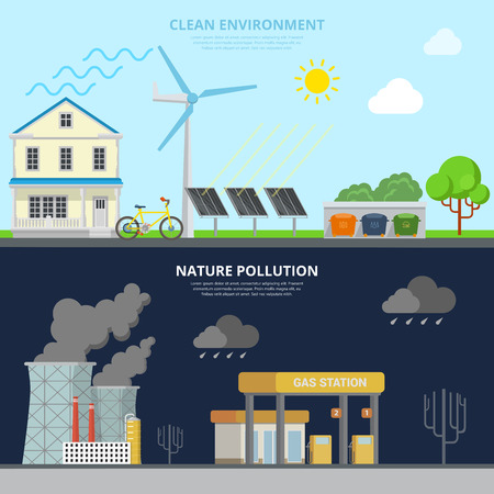 excessive: Clean Environment and Nature Pollution flat style web site hero image banner vector illustration. Eco friendly green alternative energy transport recycling excessive pollutive industrial scene. Illustration