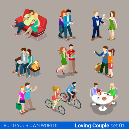 Loving couple flat 3d isometric web infographic concept vector icon set. Sofa restaurant cafe gift cycling sightseeing travel selfie. Creative people collection.