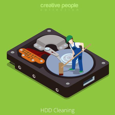 HDD Wipe limpieza en proceso. ilustración 3D isométrica estilo tecnología plana isometría concepto de hardware del vector. Micro hombres de dibujos animados gran unidad de disco duro abren plato limpio. colección de gente creativa