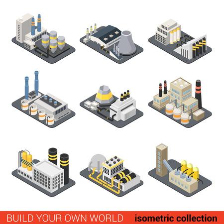 Stromenergieanlage Fabrik nukleare Wärme Heizgas Industrie exter Aufzug. Wohnung isometrischen 3D-Baukasten Ort Infografik Set. Bauen Sie Ihre eigene Infografik Welt Sammlung.