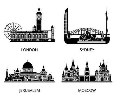 cultural history: High detail landmarks silhouette stencil set. World countries cities sightseeing collection. London Sydney Jerusalem Moscow. United Kingdom Israel Russia Australia