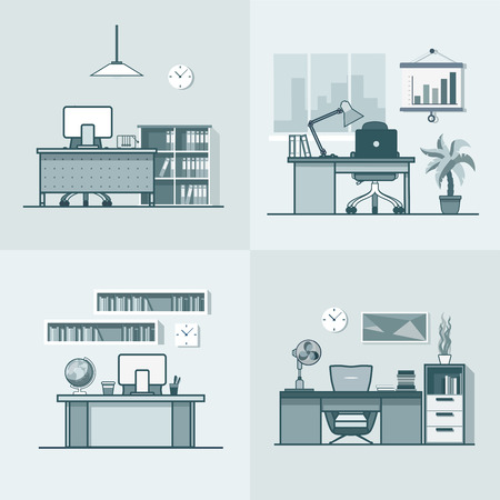 mono color: Teacher office student room workplace table chair interior indoor set. Linear mono color stroke outline flat style vector icons. Monochrome icon collection.