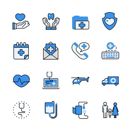 lineart: Health care medical help emergency ambulance lineart flat vector icon set. Web site interface elements color line art mobile app application objects. Line-art healthcare icons collection.