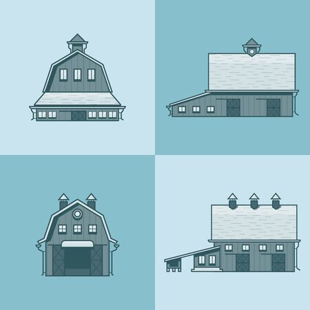 barns: Farm rancho barn store house warehouse granary hangar architecture building set. Linear stroke outline flat style vector icons. Monochrome icon collection.
