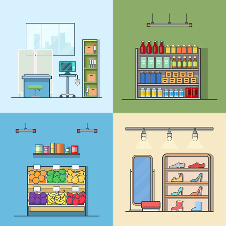 greengrocery: Green grocery vegetable shoes shop store hospital interior indoor set. Linear stroke outline flat style vector icons. Color icon collection.