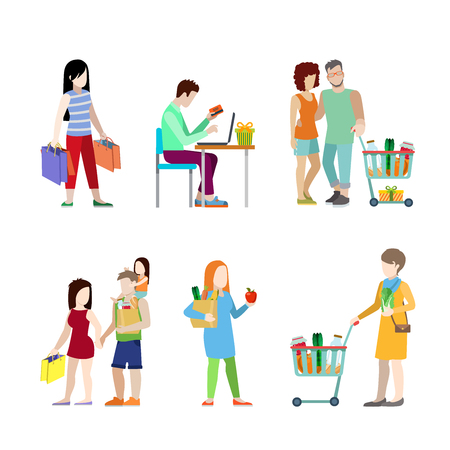shoppers: Urban young people shopping cart grocery couple family flat web infographic concept vector icon set. Creative people collection. Illustration