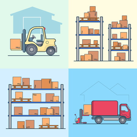 storage box: Warehouse rack shelving loader box loading van set. Storage business concept. Linear multicolor stroke outline flat style vector icons. Color icon collection.