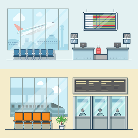 color registration: Airport registration reception desk railway train station ticket desk office interior indoor set. Linear stroke outline flat style vector icons. Color icon collection.