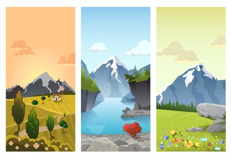hilly: Hilly mountains Landscape in Seasons: spring summer autumn. Floral background changing seasonal scenics picturesque pictorial.