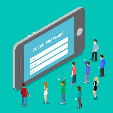 Social media mobiele applicatie netwerk login. Sociaal netwerk vergunning plugin. Flat 3d isometry isometrische stijl website app icon set begrip vector illustratie. Creatieve mensen collectie. Vector Illustratie