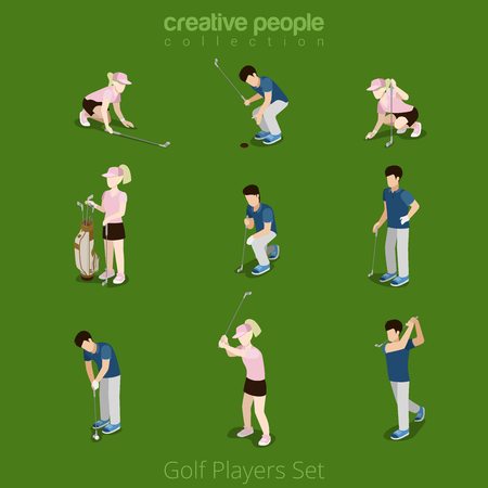 people  male: Golf players male female flat web infographic concept vector icon set. Creative people collection.